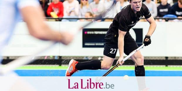 Racing's Tom Boon pictured in action during a hockey game between Gantoise and Racing, in the Audi league hockey competition, Sunday 15 April 2018, in Gent. BELGA PHOTO LAURIE DIEFFEMBACQ