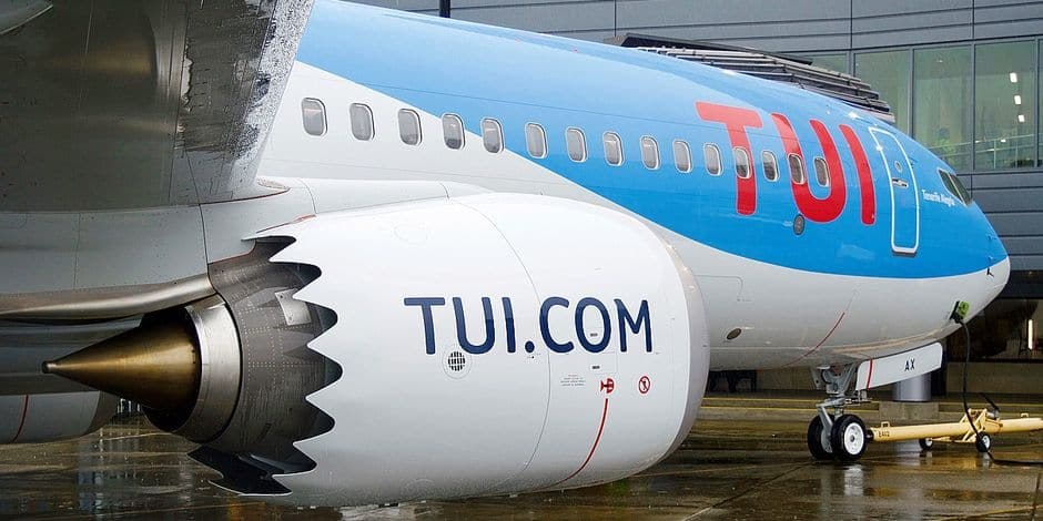 Illustration picture shows the first Boeing 737 MAX airplane of TUI, multinational travel and tourism company, at Seattle airport in Seattle, United States, Monday 29 January 2018. BELGA PHOTO FREDERIK UREEL