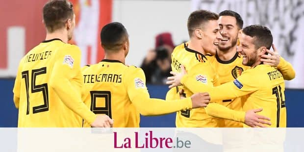 Belgium's Thorgan Hazard celebrates after the 0-1 goal at a soccer game between Switzerland and Belgian national team the Red Devils in Luzern, Switzerland, Sunday 18 November 2018, the last game in group 2 of the UEFA Nations League A competition. BELGA PHOTO DIRK WAEM