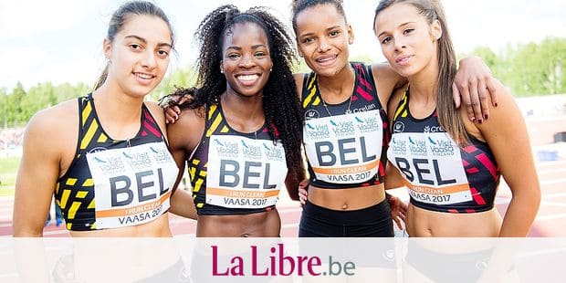 Elise Lasser, Belgian athlete Cynthia Mbongo Bolingo, Lucie Ferauge and Belgian Camille Laus pictured during day three of the European Athletics Team Championships First League competition in Vaasa, Finland, from 23 to 25 June, Sunday 25 June 2017. BELGA PHOTO JASPER JACOBS