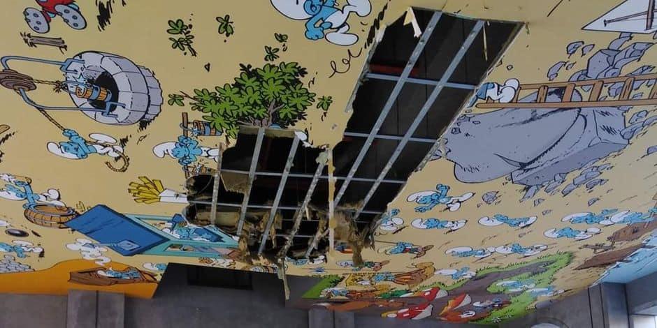 Gare Centrale : la fresque des Schtroumpfs s'est effondrée