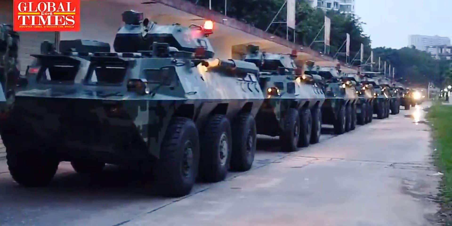 Chine Une vidéo montre des blindés en exercice près de la frontière hongkongaise