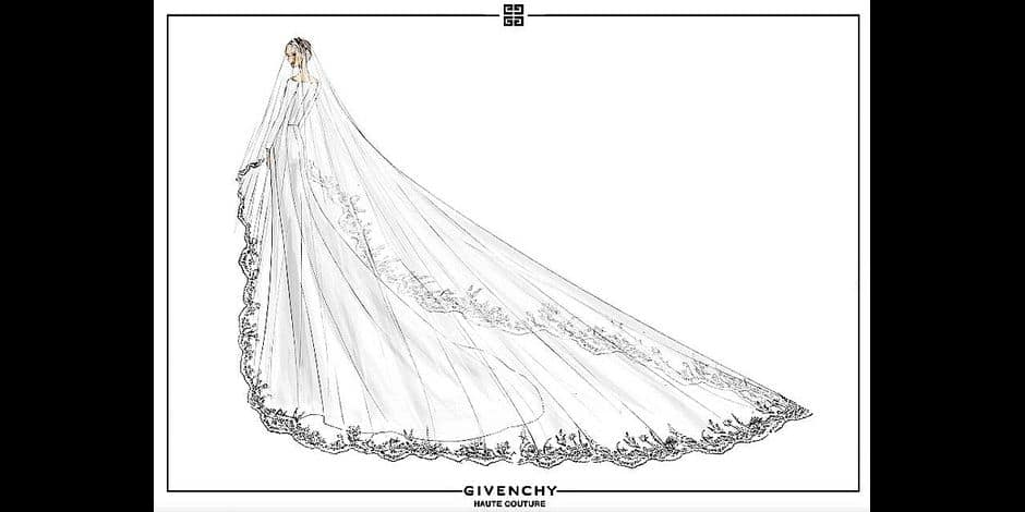 The woman behind Meghan Markle s wedding gown has opened up about the experience of creating the perfect dress and revealed how Prince Harry was completely bowled over by it. He [Prince Harry] came straight up to me and said thank you she looks absolutely stunning, revealed British Givenchy designer Clare Waight Keller, some of whose sketches and designs were released today (May 21). Keller, who was spotted arranging the Duchess of Sussex s veil and train before she processed into St George s Chapel for the May 19th ceremony in Windsor, described Meghan as genuine, warm and radiant and aded: She s a strong woman, and knows exactly what she wants. The focus of Meghan s dress, according to the House Of Givenchy, was the graphic open bateau neckline that gracefully framed the shoulders and emphasized the slider sculpted waist. The five-meter long veil was made from silk tulle with a trim of hand embroidered flowers in silk threads and organza. In total there were 53 different floral designs used that each represented the 53 countries of the Commonwealth, which were united together for one spectacular floral composition. And the wedding shoes were based on the Parisian fashion house s refined pointed Spring/ Summer 2018 Haute Couture design made of silk and duchess satin. Keller also designed the six bridesmaids dress, that were hand crafted in ivory silk in the Givenchy Haute Couture Atelier in Paris. It has been an immensely rewarding experience to get to know Meghan on a personal level, one I will forever carry with me, added Keller. 21 May 2018 Pictured: Meghan Markle pictured on her wedding day at St George s Chapel in Windsor wearing a Givenchy dress designed by Brit designer Clare Waight Keller on May 19, 2018, plus sketches of the gown. Photo credit: Givenchy/ MEGA TheMegaAgency.com +1 888 505 6342 Reporters / Mega *** Local Caption *** MEGA225718_005