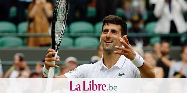 Serbia's Novak Djokovic celebrates defeating Ugo Humbert of France in a men's singles match during day seven of the Wimbledon Tennis Championships in London, Monday, July 8, 2019. (AP Photo/Kirsty Wigglesworth)