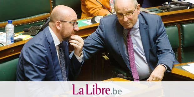 Belgian Prime Minister Charles Michel and Minister of Justice Koen Geens pictured during a plenary session of the Chamber at the Federal Parliament in Brussels, Thursday 21 June 2018. BELGA PHOTO JAMES ARTHUR GEKIERE