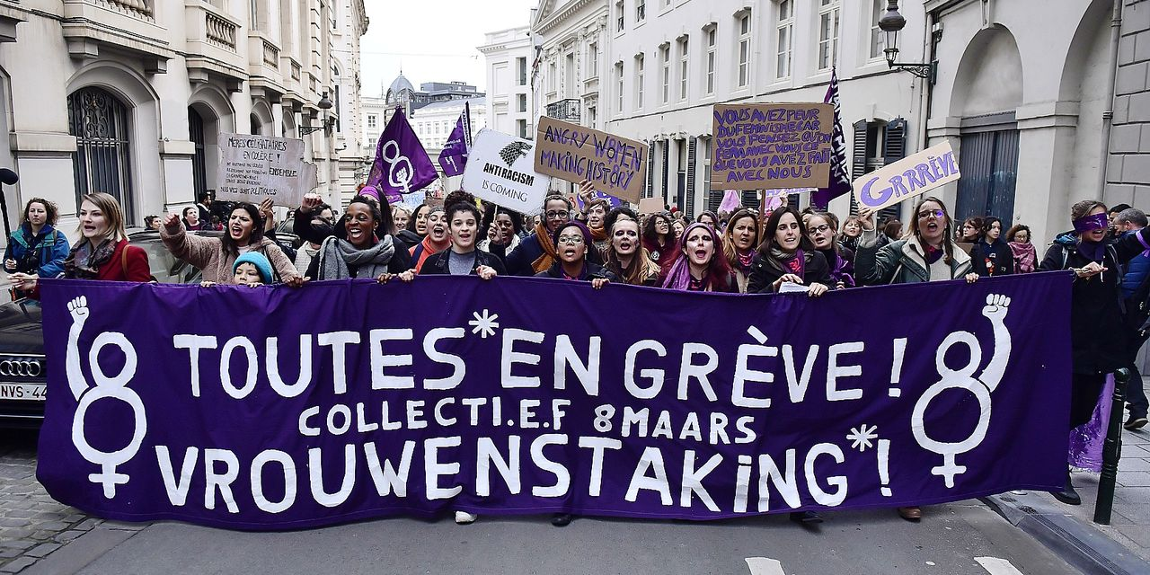 Illustration picture shows a Women's Strike in the streets of Brussels, Friday 08 March 2019, International Women's Day. BELGA PHOTO LAURIE DIEFFEMBACQ