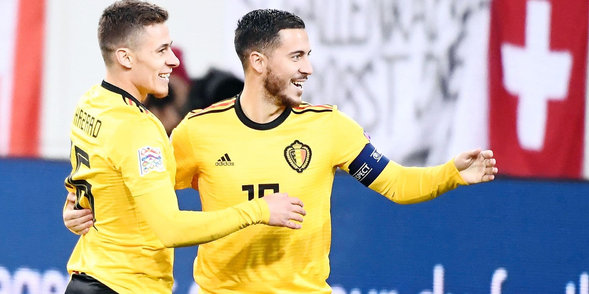 Belgium's Thorgan Hazard celebrates after the 0-1 goal with his brother Eden at a soccer game between Switzerland and Belgian national team the Red Devils in Luzern, Switzerland, Sunday 18 November 2018, the last game in group 2 of the UEFA Nations League A competition. BELGA PHOTO DIRK WAEM