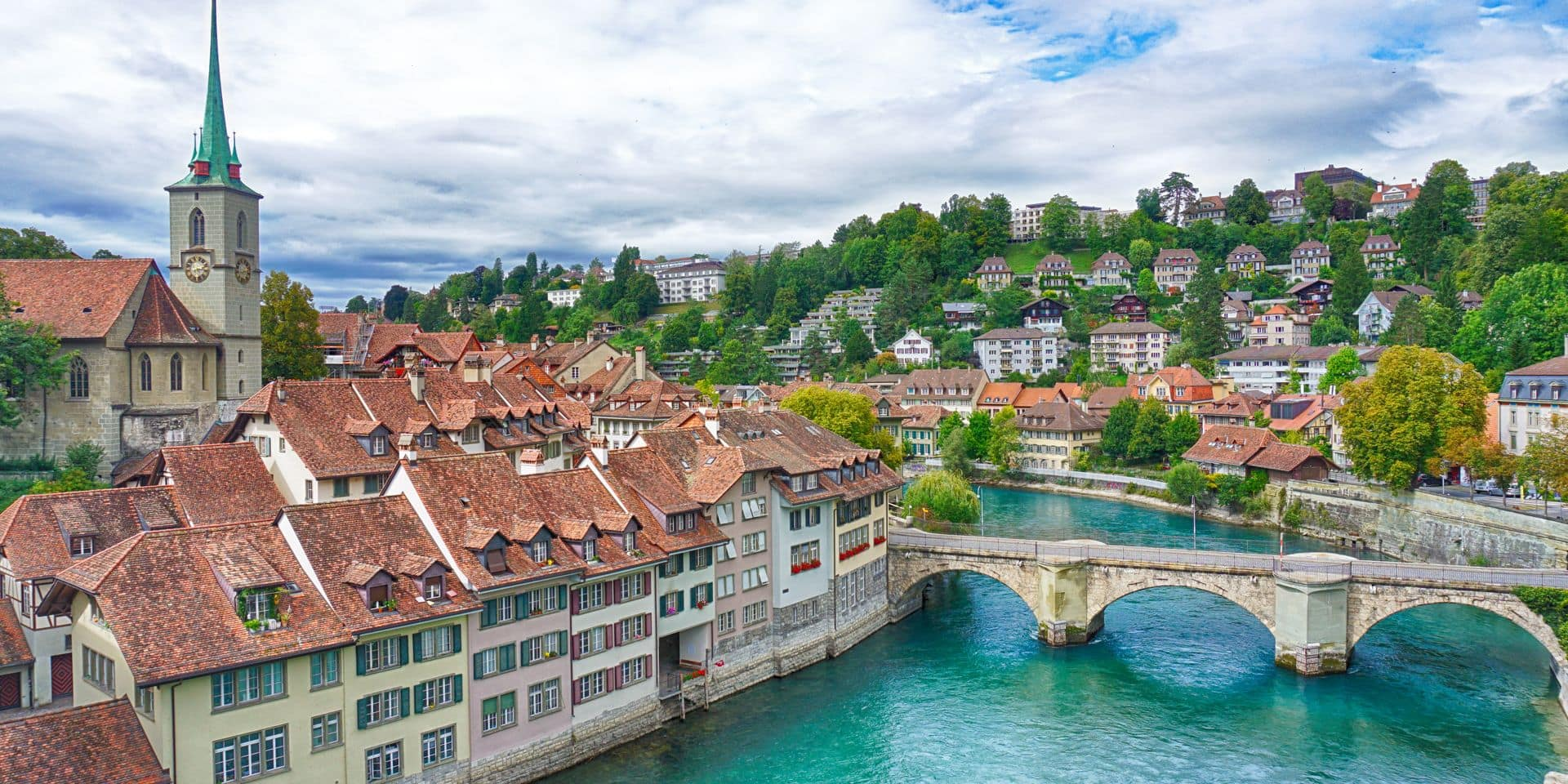 The,View,Of,Old,Town,Of,Bern,,Aare,River,And