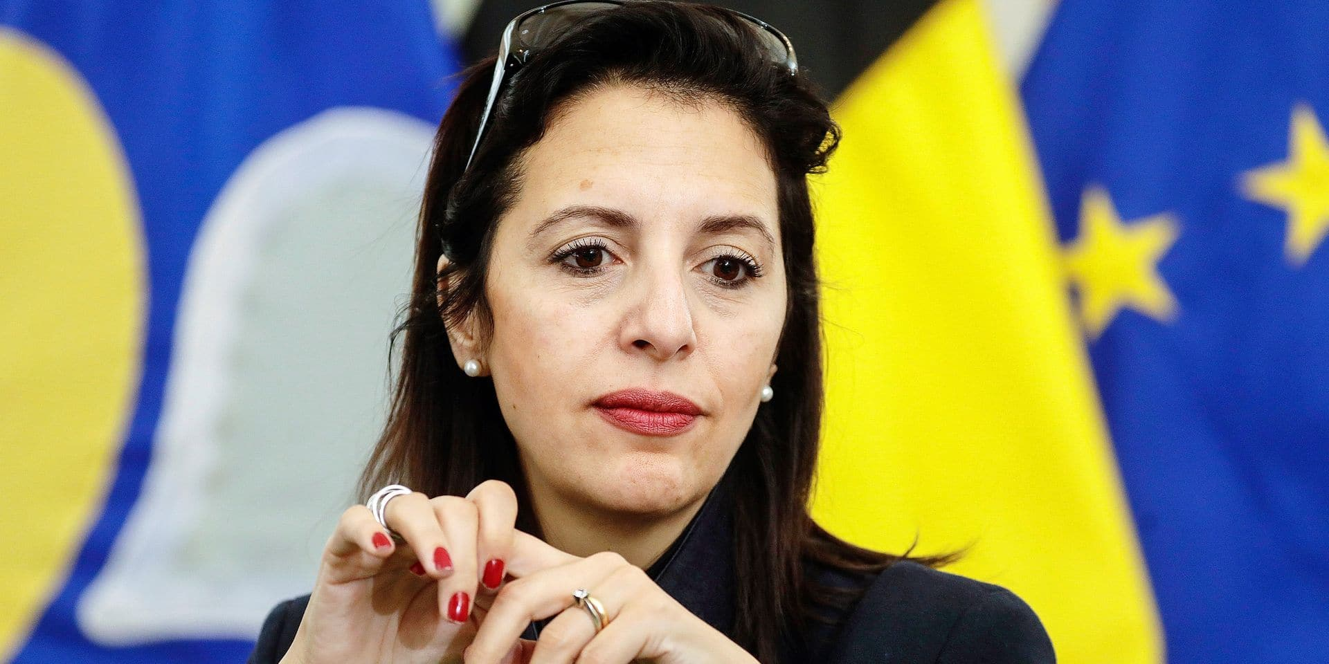 Ecolo's Zakia Khattabi pictured during a press conference to present the agreement to form a new brussels government, Wednesday 17 July 2019 in Brussels regional parliament. PS, Ecolo, DeFi, Groen, Open Vld and one.brussels-sp.a found a agreement in the night. BELGA PHOTO THIERRY ROGE negotiations