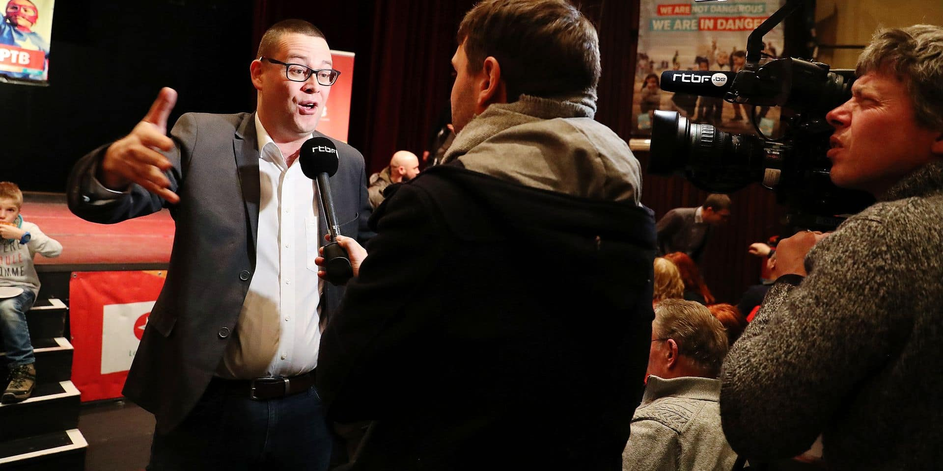 PTB-GO !'s Raoul Hedebouw pictured at the new year's reception of Belgian far-left party PTB - PVDA, in Liege, Friday 25 January 2019. BELGA PHOTO BRUNO FAHY