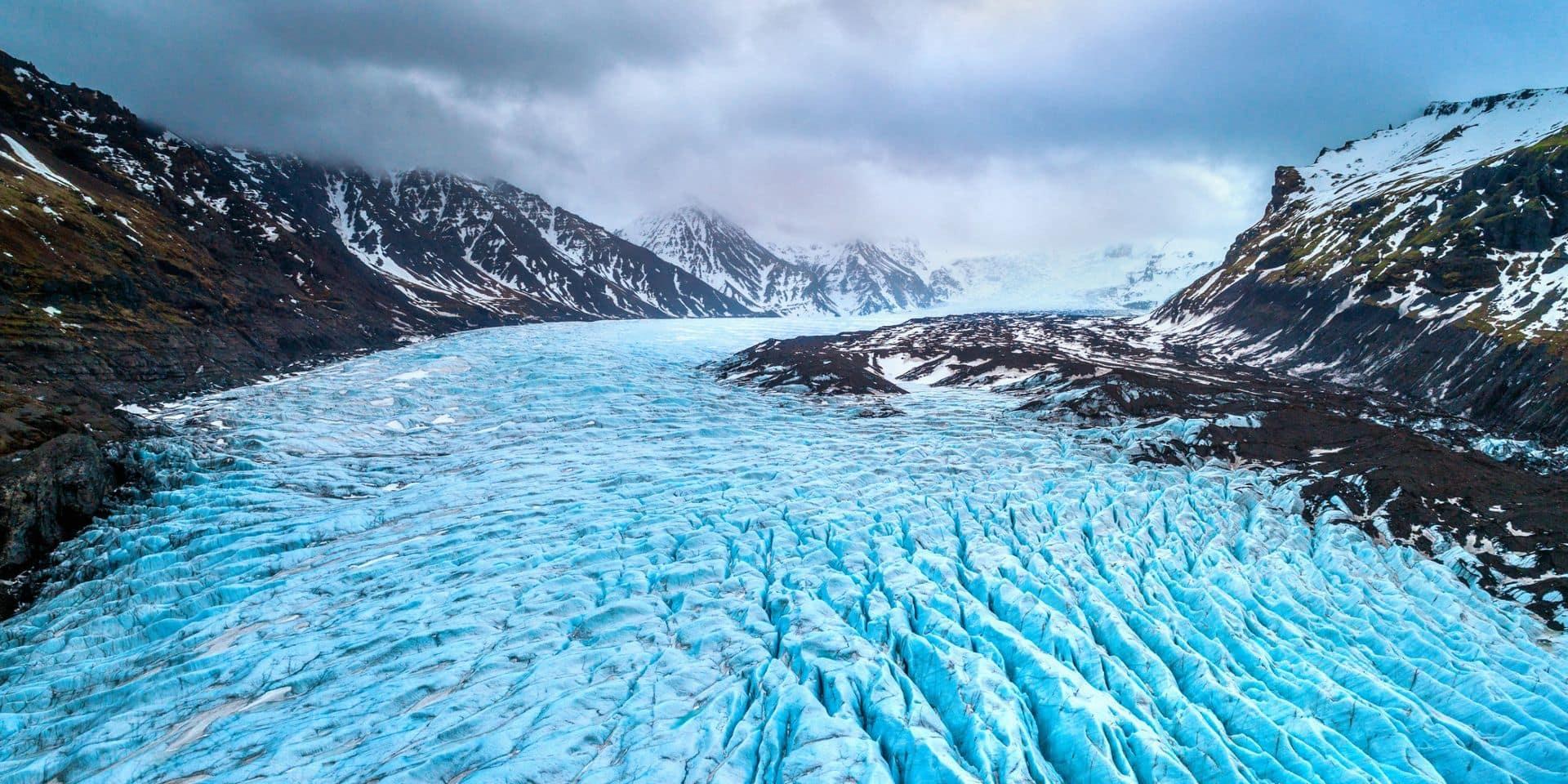 Glacier de Skaftafell, parc national Vatnajokull en Islande.