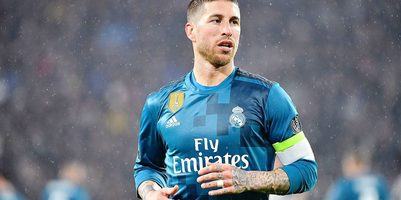 Real Madrid's Spanish defender Sergio Ramos looks on during the UEFA Champions League quarter-final first leg football match between Juventus and Real Madrid at the Allianz Stadium in Turin on April 3, 2018. / AFP PHOTO / Alberto PIZZOLI