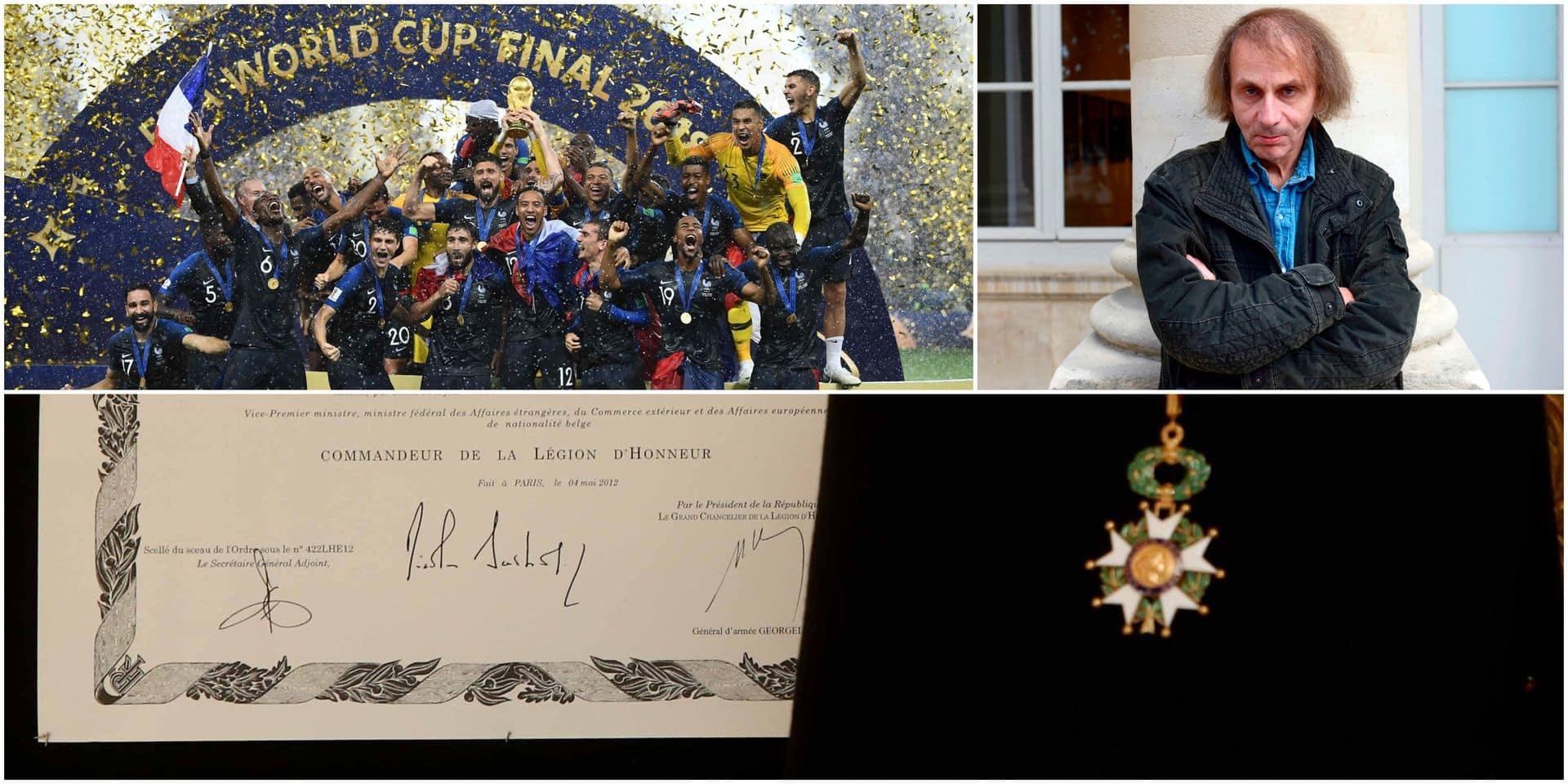 Michel Houellebecq et l'Equipe de France distingués de la Légion d'honneur