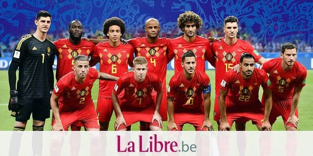 (top L-R) 01 Belgium's goalkeeper Thibaut Courtois, Belgium's Romelu Lukaku, Belgium's Axel Witsel, Belgium's Vincent Kompany, Belgium's Marouane Fellaini, Belgium's Thomas Meunier, (front L-R) 02 Belgium's Toby Alderweireld, Belgium's Kevin De Bruyne, Belgium's Eden Hazard, Belgium's Nacer Chadli and Belgium's Jan Vertonghen pose for a group picture ahead of a soccer game between Belgian national soccer team the Red Devils and Brazil in Kazan, Russia, Friday 06 July 2018, the quarter-finals of the 2018 FIFA World Cup. BELGA PHOTO DIRK WAEM