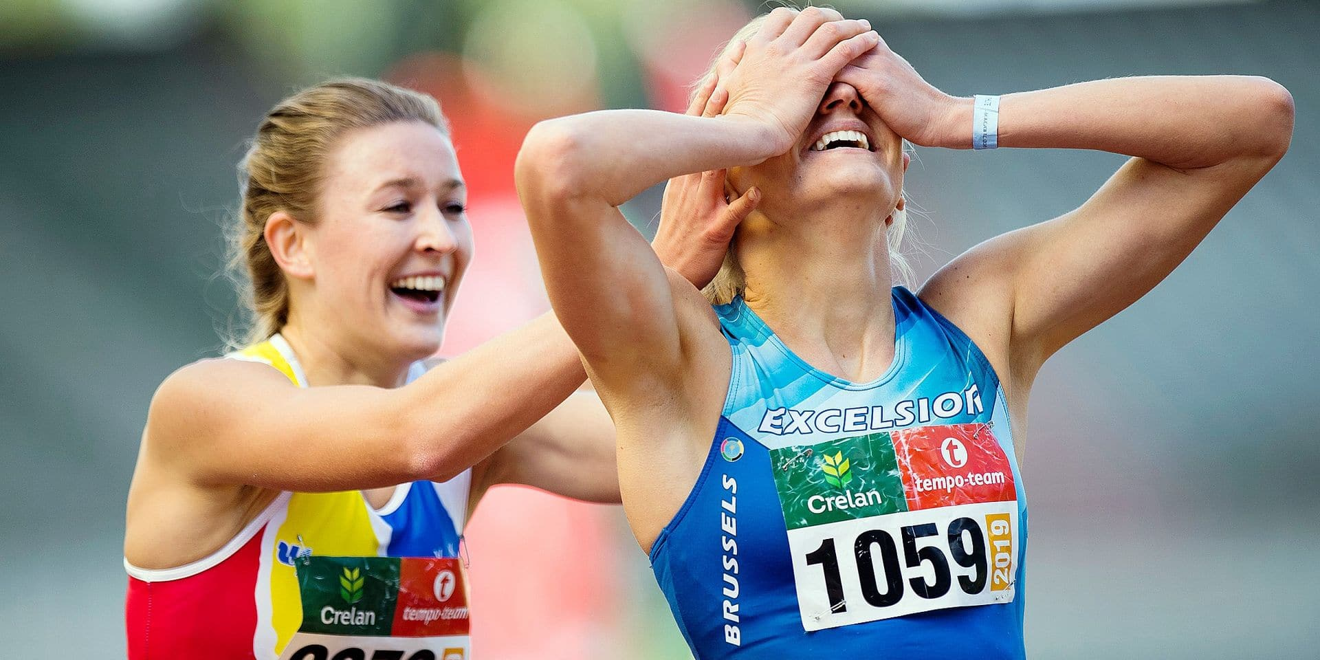 Belgian Paulien Couckuyt and Belgian Hanne Claes celebrate after the women's 400m hurdles race at the Belgian Athletics championships, Sunday 01 September 2019 in Brussels. BELGA PHOTO JASPER JACOBS