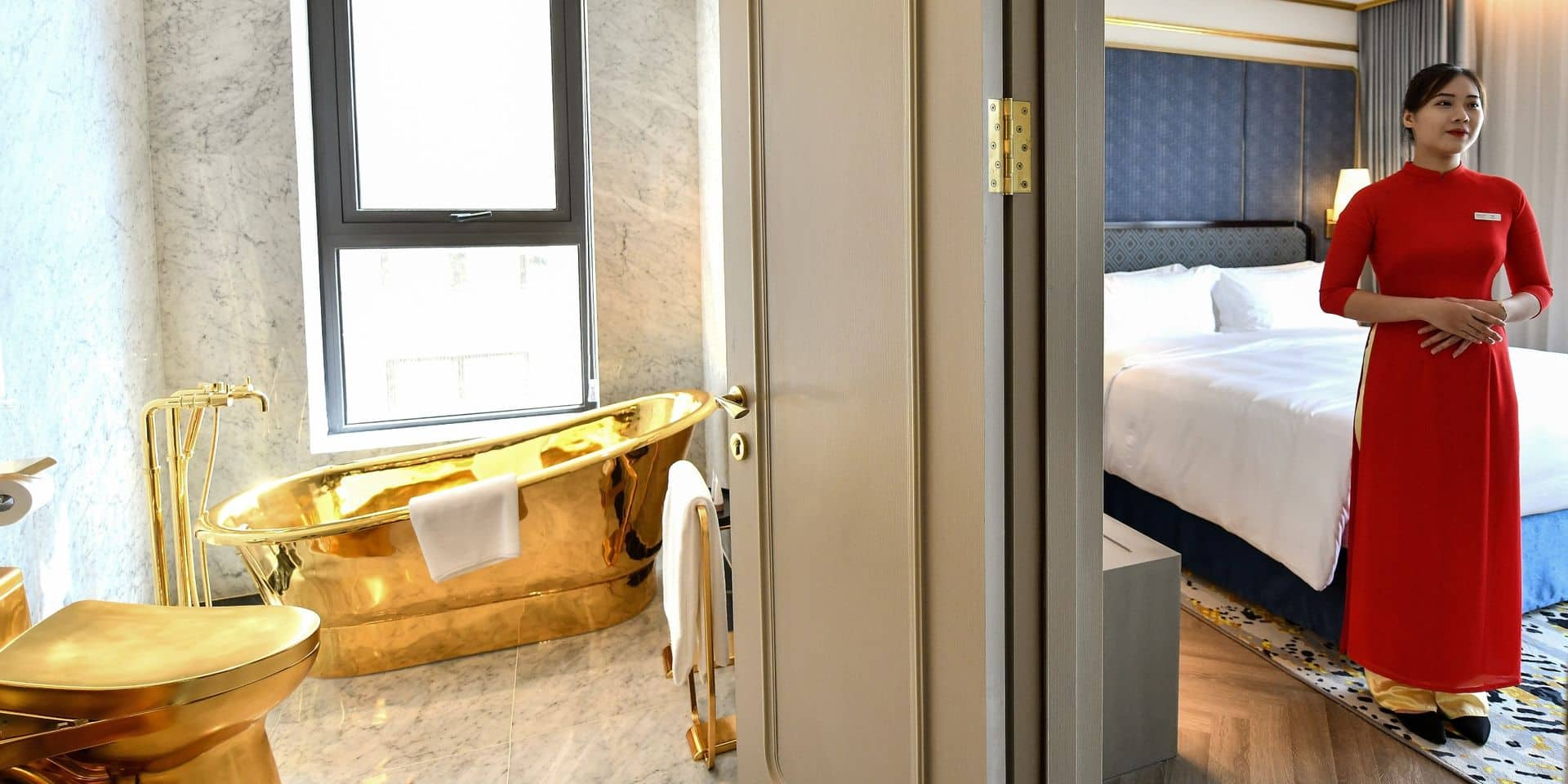 """Hall d'entrée, piscine, salle de bain... Le premier hôtel """"plaqué or"""" a ouvert ses portes"""