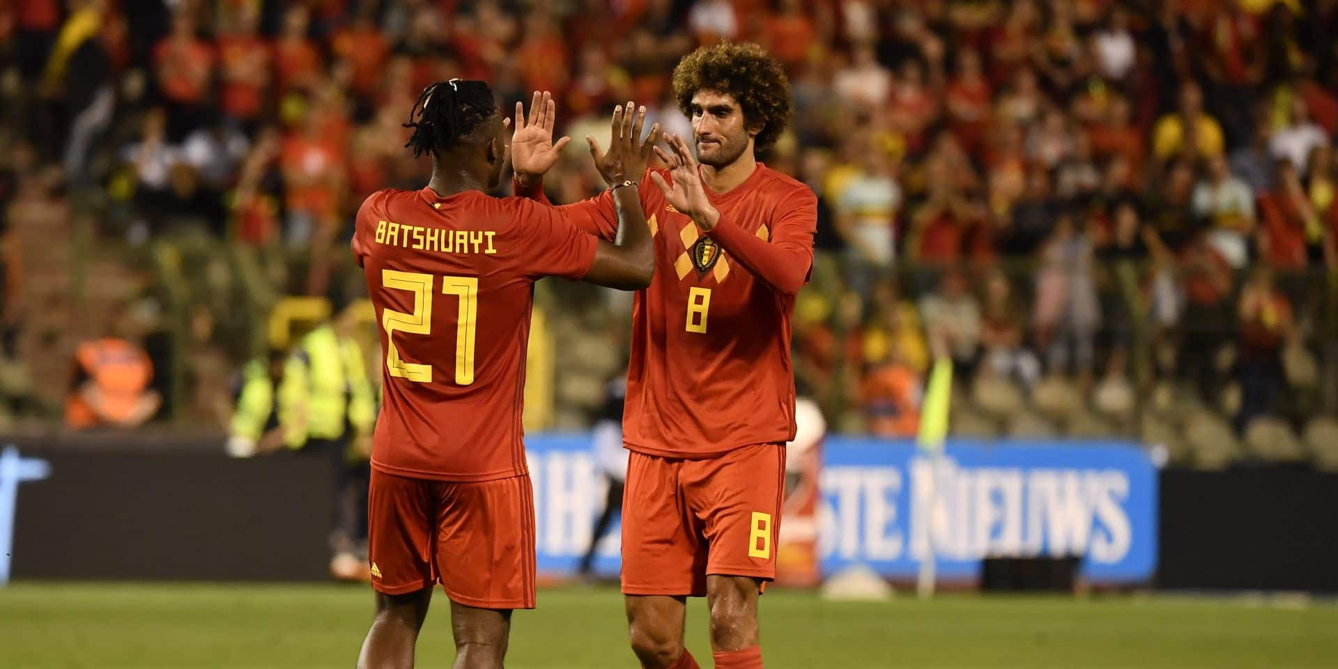 Belgium's Michy Batshuayi and Belgium's Marouane Fellaini celebrate after Fellaini scored the 3-0 goal during a friendly game between Belgium national team, The Red Devils and Egyptian national soccer team, Wednesday 06 June 2018, in Brussels. Both teams prepare the upcoming FIFA World Cup 2018 in Russia. BELGA PHOTO DIRK WAEM