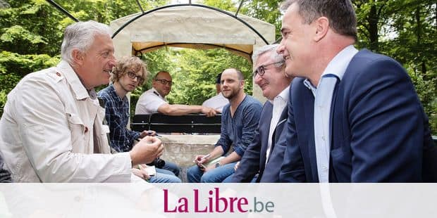 Pairi Daiza founder Eric Domb, Walloon Minister of Agriculture, Nature, Rurality, Tourism and Patrimony Rene Collin and Benoit Lutgen pictured during a press conference of the Walloon government and the Pairi Daiza animal park regarding plans for the 'St-Michel-Freyr' woods, Saturday 16 June 2018, in Tenneville. BELGA PHOTO KOEN BLANCKAERT