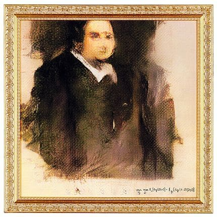 This photo provided by Christie's shows a portrait of Edmond de Belamy, a work of art created by artificial intelligence, Wednesday, Oct. 24, 2018 in New York. Christie's will become the first auction house to offer a work of art created by an algorithm defined by that algebraic formula with its many parentheses. (Photo Courtesy of Christie's via AP)