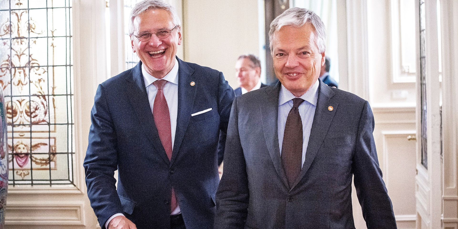 Vice-Prime Minister and Minister of Employment, Economy and Consumer Affairs Kris Peeters and Vice-Prime Minister and Foreign Minister Didier Reynders pictured leaving a meeting with the President of Argentina on the second day of a Belgian Economic mission to Argentina, Tuesday 26 June 2018 in Buenos Aires, Argentina. Several federal and regional ministers accompany the princess on a week-long economic mission to Argentina and Uruguay. BELGA PHOTO LAURIE DIEFFEMBACQ