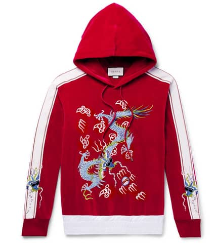Gucci. Satin-Trimmed Embroidered Cotton-Blend Velvet Hoodie.       1500 euros.