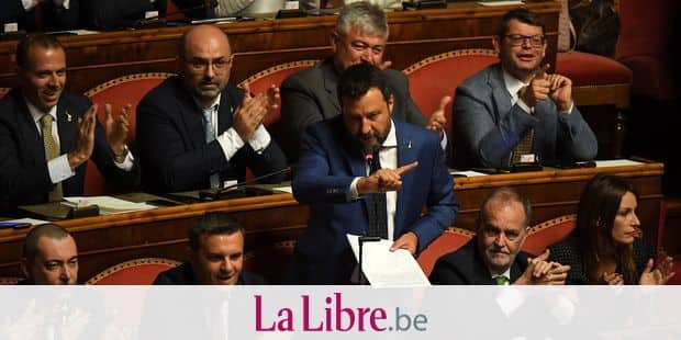 (190813) -- ROME, Aug. 13, 2019 () -- Italian Interior Minister Matteo Salvini speaks to the Senate in Rome, Italy, on Aug. 13, 2019. Italian Interior Minister Matteo Salvini, leader of the rightwing, anti-immigrant League party, told the Senate on Tuesday that he is willing to vote on a reform that would reduce the number of members of parliament as long as this is followed by an immediate snap election. This appears to postpone an impending government crisis, which Salvini unleashed last week when he announced his party had filed a no-confidence motion against Prime Minister Giuseppe Conte. (Photo by Alberto Lingria/) Reporters / Photoshot