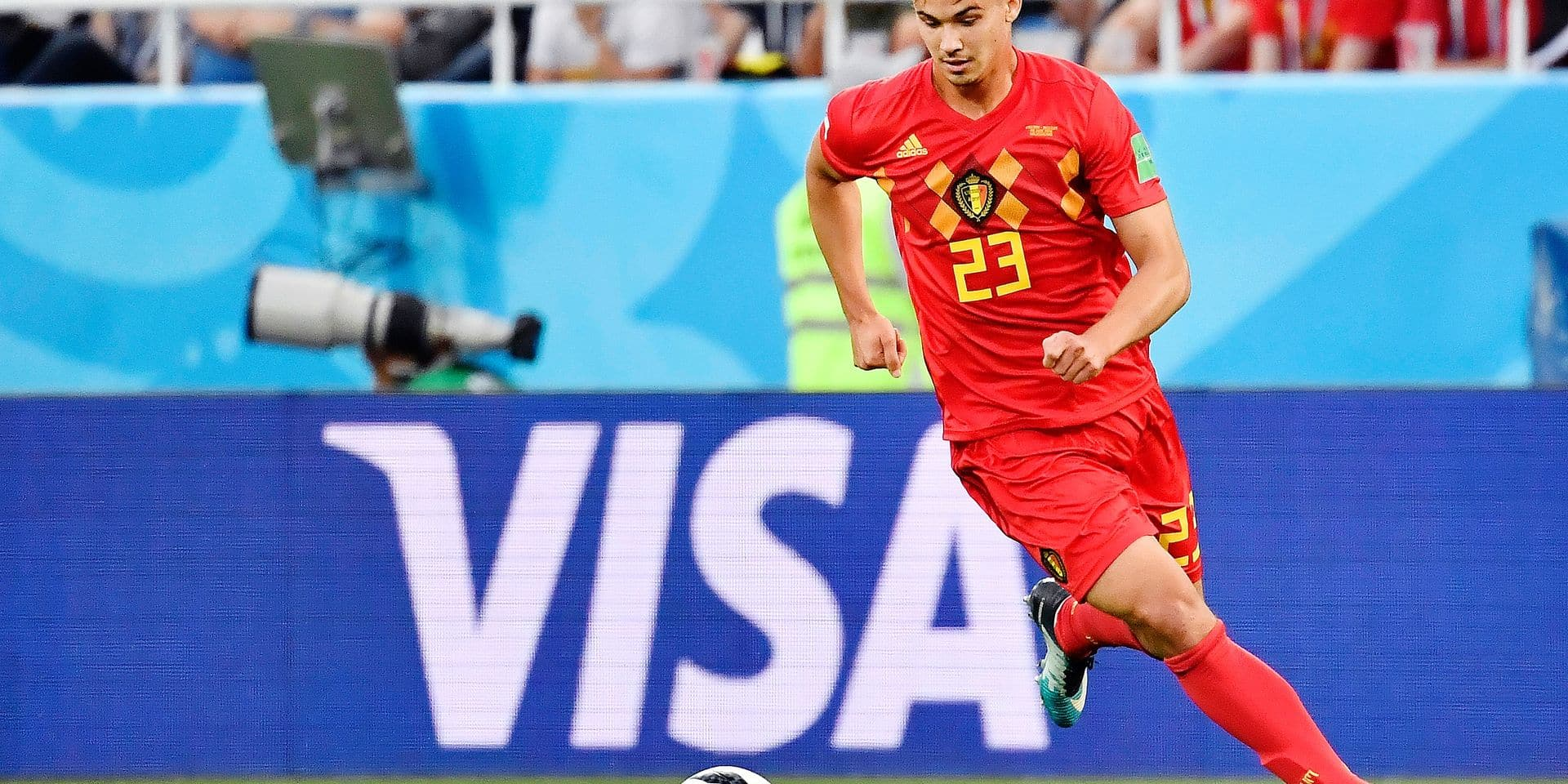 Belgium's Leander Dendoncker pictured in action during a soccer game between Belgian national soccer team the Red Devils and England, Thursday 28 June 2018 in Kaliningrad, Russia, the third and last in Group G of the FIFA World Cup 2018. BELGA PHOTO DIRK WAEM