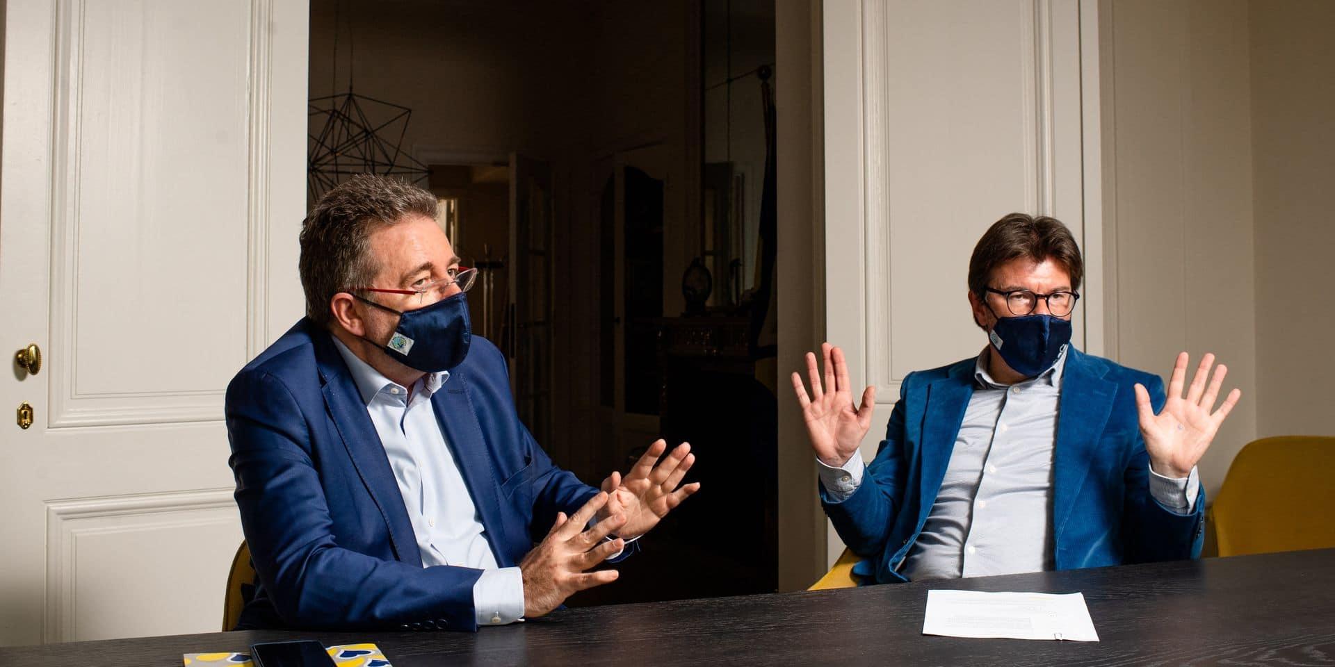 Bruxelles - Cabinet du Ministre President: Rudi Vervoort - Ministre-président de la Région de Bruxelles-Capitale (PS) et Sven Gatz (Open VLD) ministre des Finances, du Budget, de la Fonction publique et de la Promotion du multilinguisme au sein du bruxe