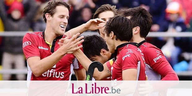 Belgium's Nicolas De Kerpel (L) celebrates with his teammates after scoring during a friendly hockey game between Belgian national hockey team the Red Lions and the Netherlands, Sunday 11 November 2018 in Brussels. BELGA PHOTO LAURIE DIEFFEMBACQ