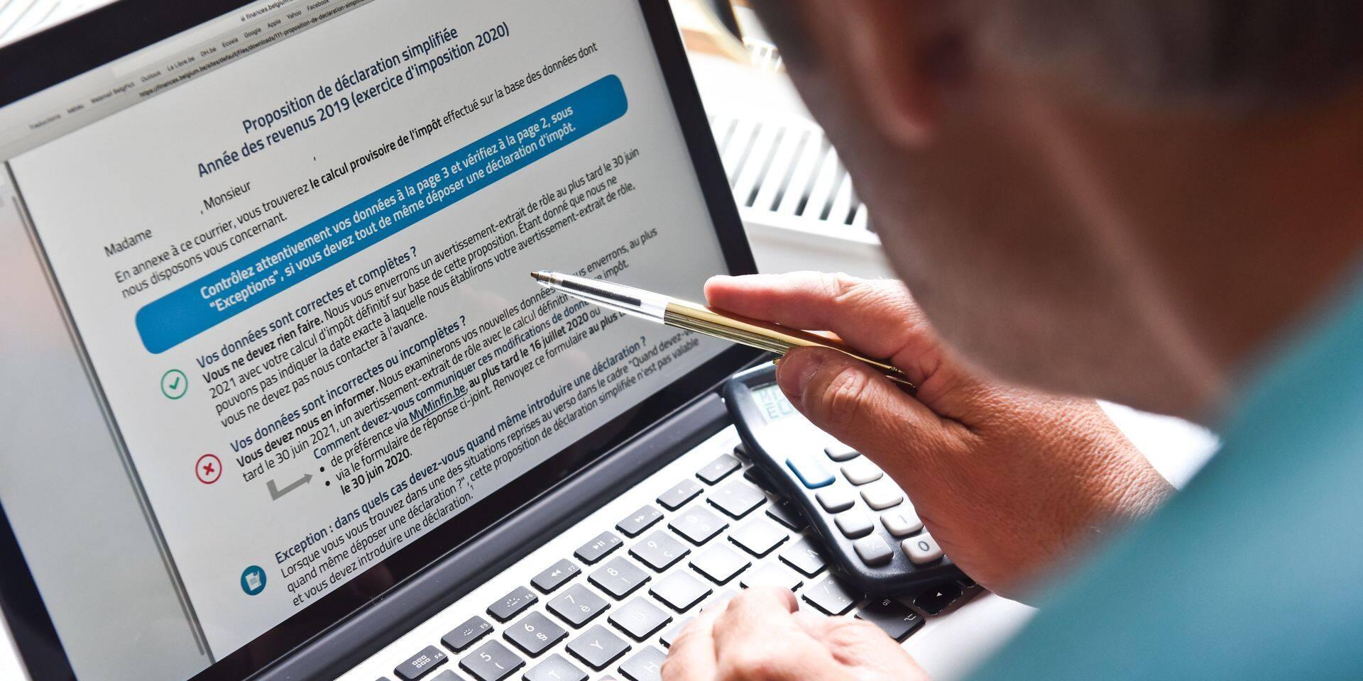 declaration contribution impot taxe simplifiee application SPF finances proposition remplie