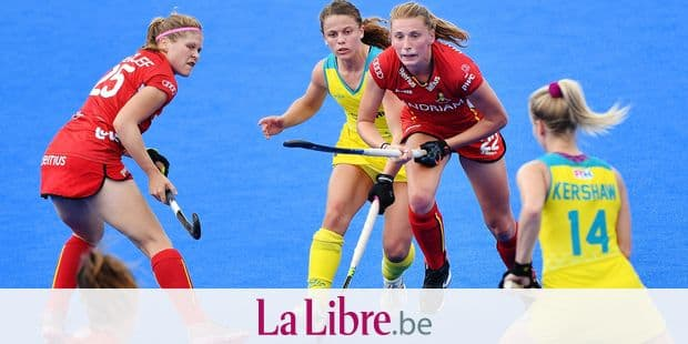 Belgium's Pauline Leclef (L) and Belgium's Stephanie Vanden Borre (CR) pictured in action during the game between Australia and Belgium in group D at the Hockey Women's World Cup, in London, UK, Tuesday 24 July 2018. The Hockey Women's World Cup takes place from 21 July to 05 August at the Lee Valley Hockey Centre in London. BELGA PHOTO BENOIT DOPPAGNE
