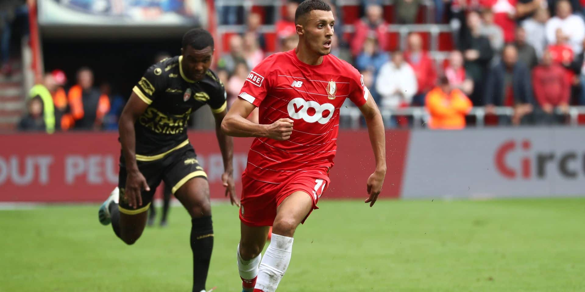 Standard's Selim Amallah pictured in action during a soccer match between Standard de Liege and Excel Mouscron, Sunday 18 August 2019 in Liege, on the fourth day of the 'Jupiler Pro League' Belgian soccer championship season 2019-2020. BELGA PHOTO VIRGINIE LEFOUR