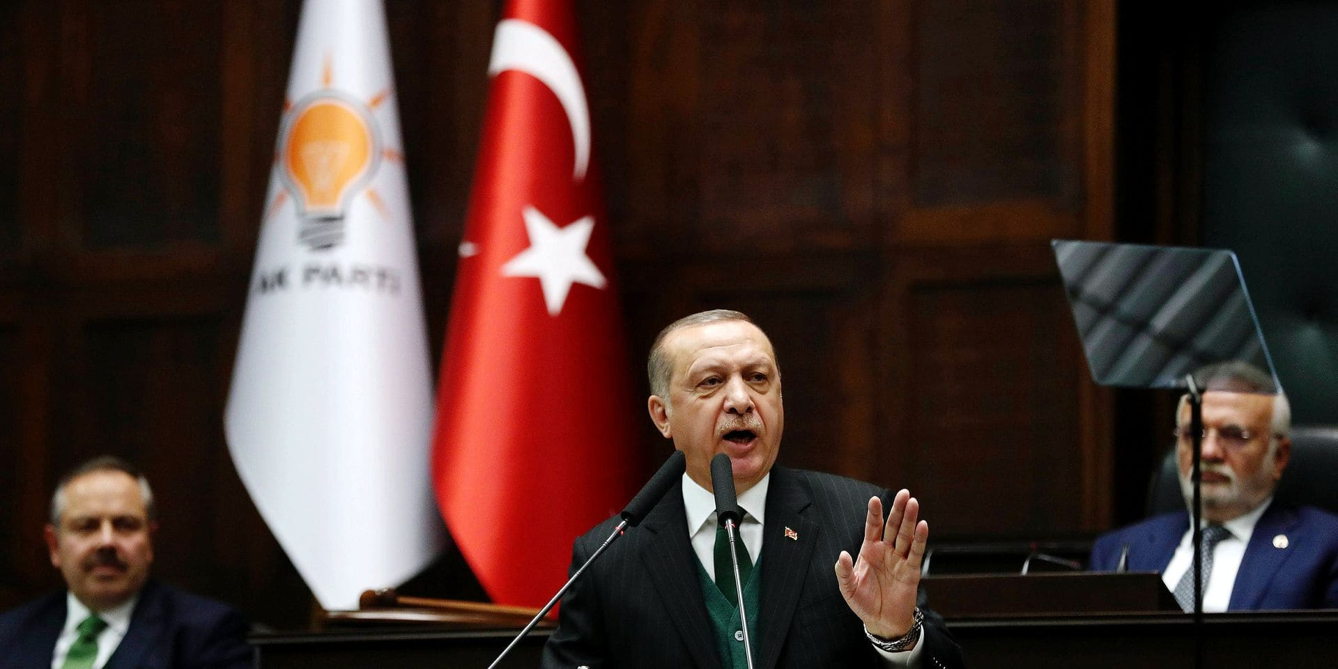 Turkish President and Leader of the Justice and Development Party (AK Party) Recep Tayyip Erdogan delivers a speech during the AK Party's parliamentary group meeting at the Grand National Assembly of Turkey (TBMM) in Ankara, Turkey on March 6, 2018. / AFP PHOTO / ADEM ALTAN