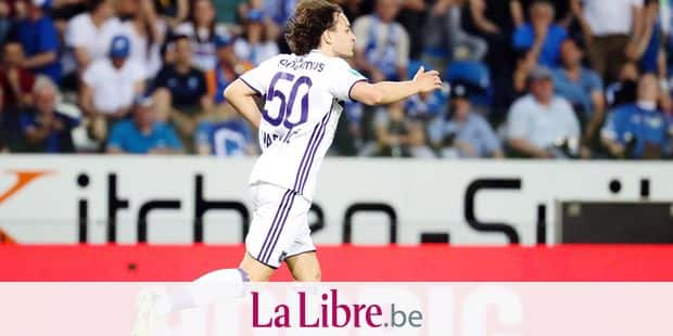 Anderlecht's Lazar Markovic celebrates after scoring during the Jupiler Pro League match between KRC Genk and RSC Anderlecht, in Genk, Saturday 21 April 2018, on day five of the Play-Off 1 of the Belgian soccer championship. BELGA PHOTO VIRGINIE LEFOUR