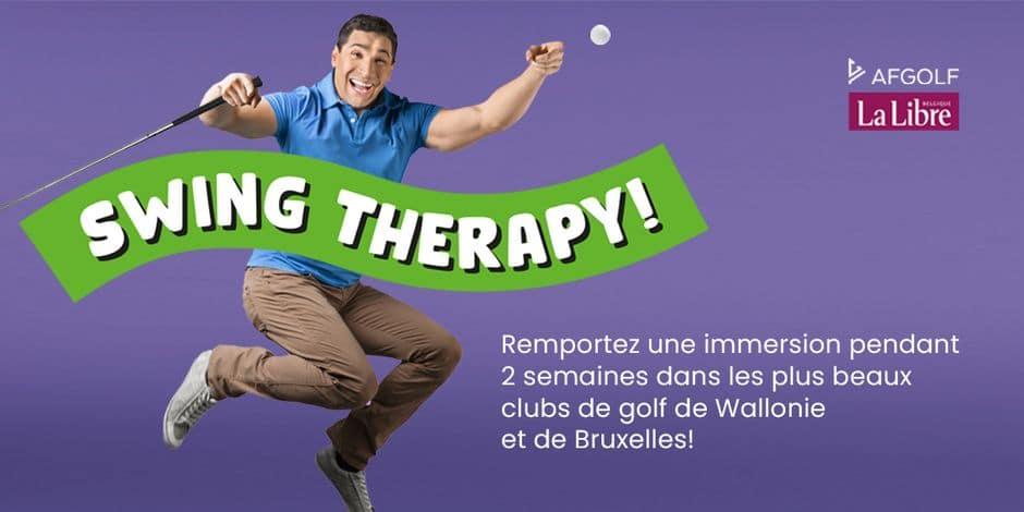 Concours Swing Therapy : remportez une immersion pendant 2 semaines dans les plus beaux clubs de golf de Wallonie et de Bruxelles.