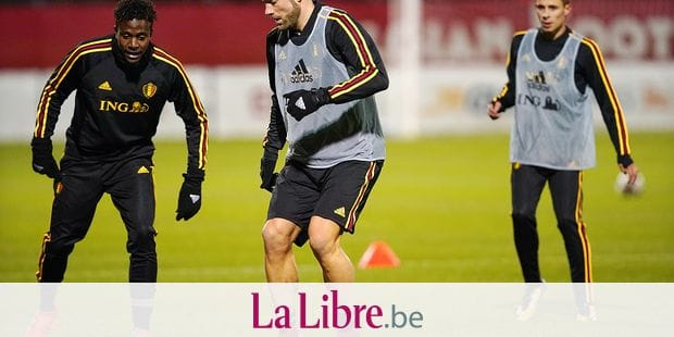 Belgium's Divock Origi and Belgium's Laurent Depoitre pictured during a training session of Belgian national soccer team Red Devils, Tuesday 07 November 2017, in Tubize. The team will be playing a friendly game against Mexico on 10th November and Japan on 14th November. BELGA PHOTO BRUNO FAHY