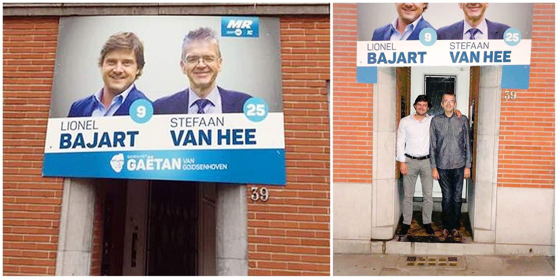 Anderlecht: l'affiche devant la porte a finalement été... découpée