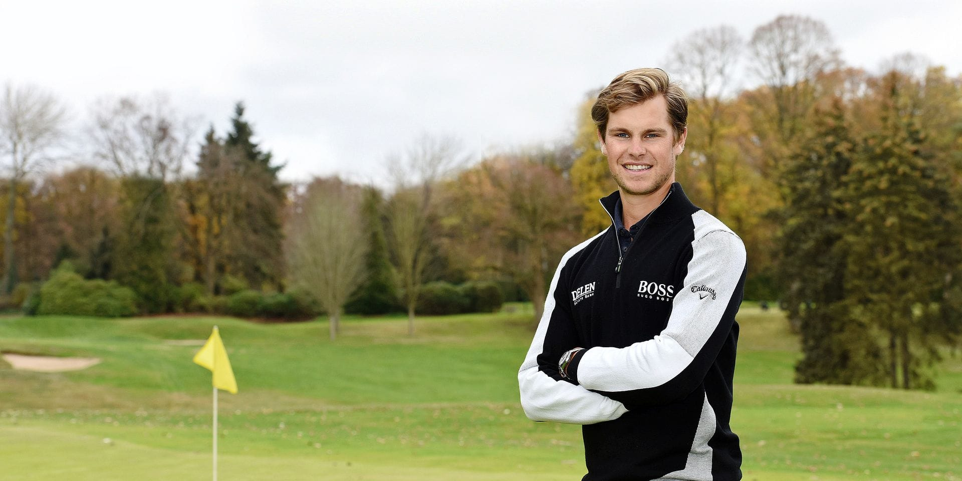 Belgian Thomas Detry poses for the photographer at a press moment with Belgian golfer Detry, at the 'Ravenstein' Royal Belgian Golf Club, in Tervuren, Friday 30 November 2018. Detry and Pieters won the 'World Cup of Golf in Australia, last weekend. BELGA PHOTO JEAN-LUC FLEMAL