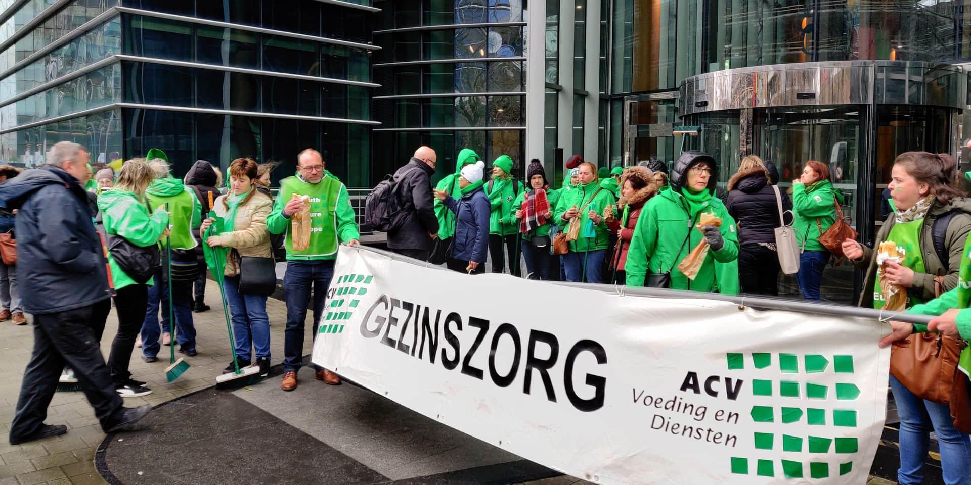 Le syndicat ACV lors d'une action en février 2020.