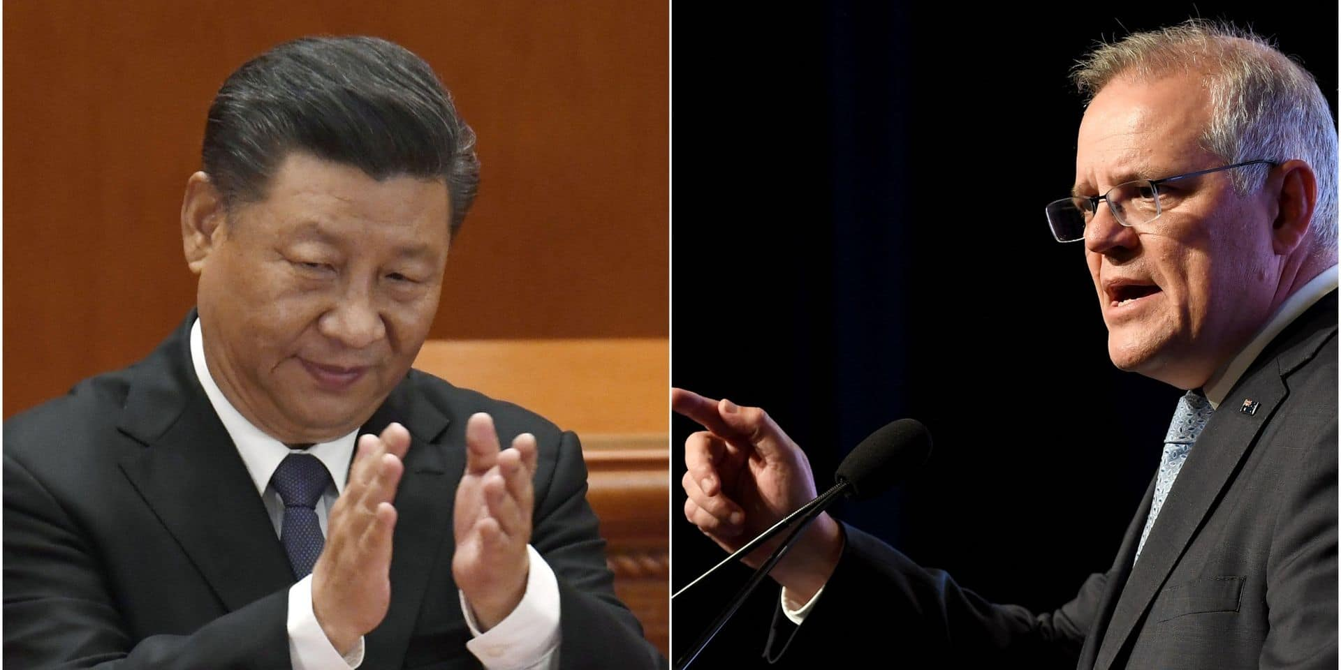 Le président chinois Xi Jinping et le Premier ministre australien Scott Morrison.
