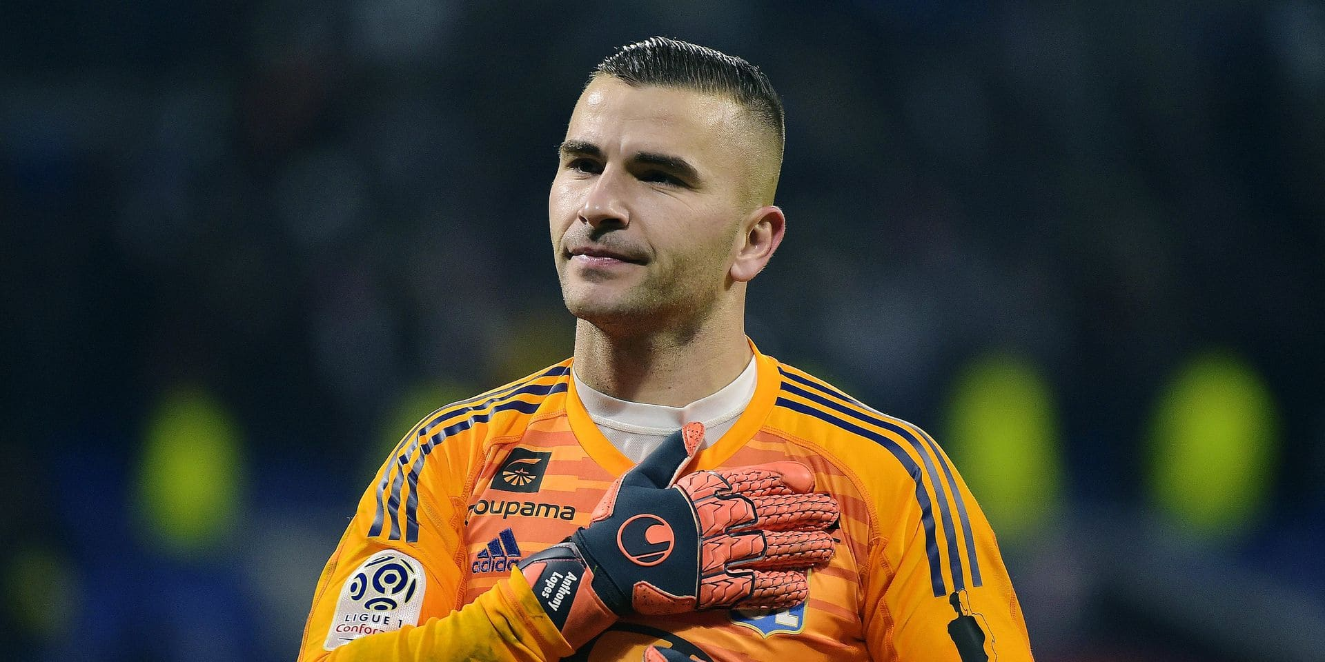 Lyon's Portuguese goalkeeper Anthony Lopes reacts at the end of the French L1 football match between Olympique Lyonnais (OL) and Paris-Saint Germain (PSG) at Groupama stadium in Decines-Charpieu, near Lyon, on February 3, 2019. (Photo by ROMAIN LAFABREGUE / AFP)
