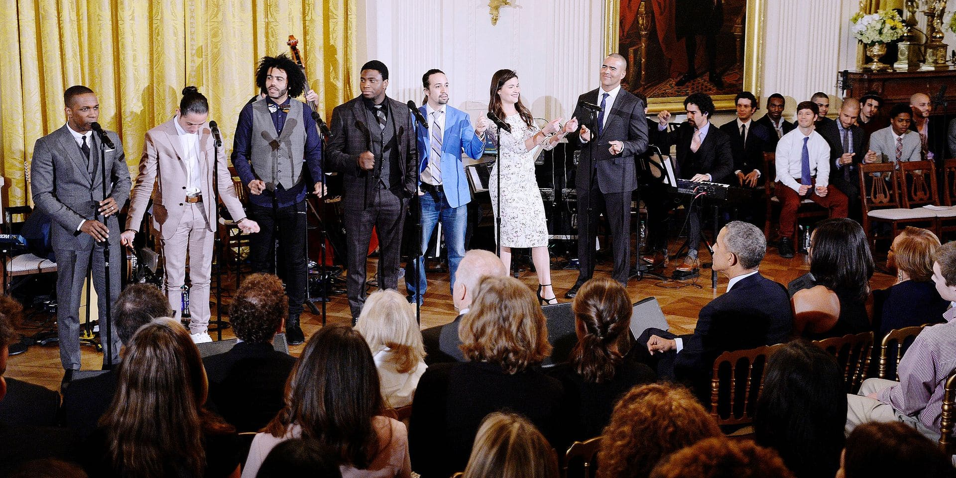 Members of the Hamilton cast perform a musical selections from the broadway show Hamilton in the East Room of the White House March 14, 2016 in Washington, D.C. Reporters / Photoshot