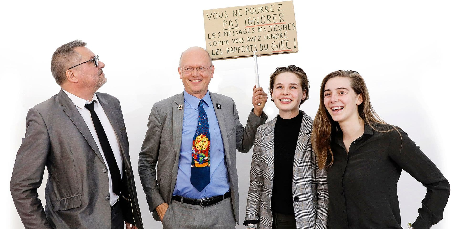 Leo Van Broeck, Belgian academic climatologist Jean-Pascal van Ypersele, Climate activist Anuna De Wever and Climate activists Adelaide Charlier pictured during a press conference to present the report by the 'Panel for the Climate', on demand of 'Youth for Climate', in Brussels, Tuesday 14 May 2019. The organizers of the ongoing student strike action 'Youth For Climate', urging pupils to skip classes to protest a lack of climate awareness, asked a panel of climate scientists to present scientifically backed solutions to end all climate and sustainability discussions. BELGA PHOTO THIERRY ROGE
