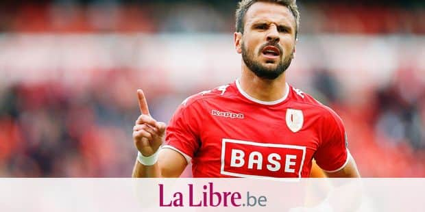 Standard's Orlando Sa celebrates after scoring during the Jupiler Pro League match between Standard de Liege and Lierse, in Liege, Friday 19 May 2017, on the last day of the Play-off 2A of the Belgian soccer championship. BELGA PHOTO BRUNO FAHY