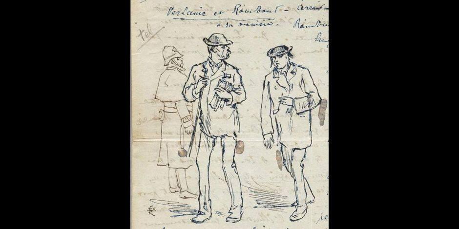 Verlaine et Rimbaud sur un dessin en vente chez Christie's