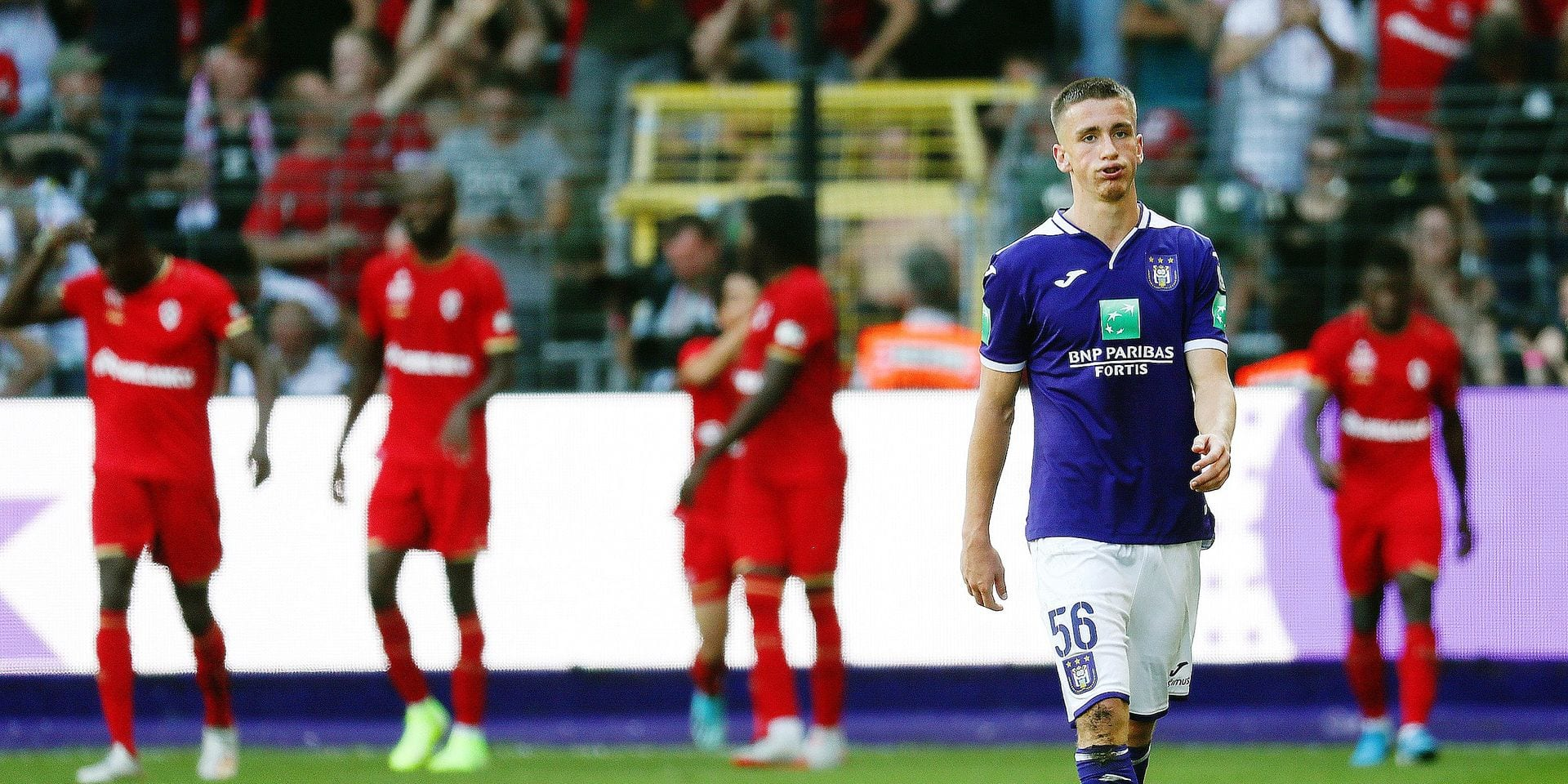 Anderlecht's Alexis Saelemaekers looks dejected during a soccer match between RSC Anderlecht vs Royal Antwerp FC, Sunday 15 September 2019 in Brussels, on the seventh day of the 'Jupiler Pro League' Belgian soccer championship season 2019-2020. BELGA PHOTO VIRGINIE LEFOUR
