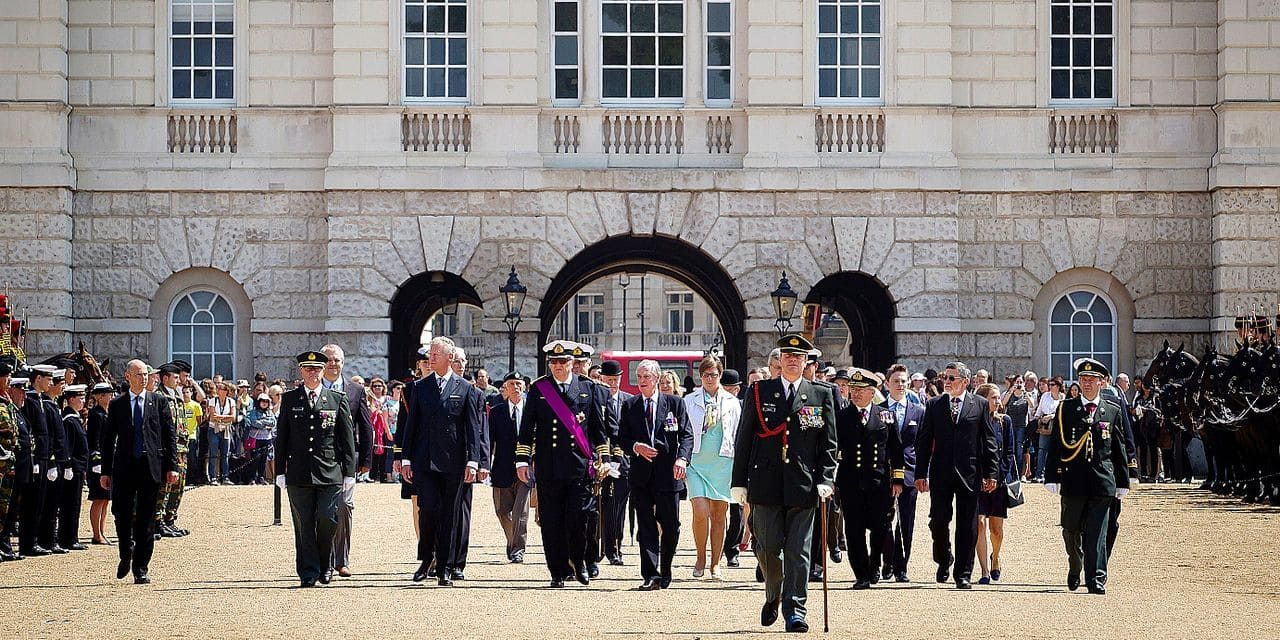 20140712 - LONDON, UNITED KINGDOM: Outgoing Vice-Prime Minister and Defence Minister Pieter De Crem (front row 2nd L) and Prince Laurent of Belgium (front row 3rd L) pictured during a memorial service in honour of the Belgians who died in battle during the world wars, Saturday 12 July 2014, at the Cenotaph in London, England, United Kingdom. BELGA PHOTO KRISTOF VAN ACCOM