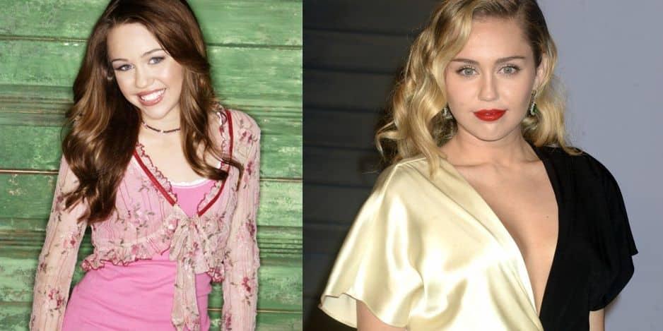 Miley Cyrus en Hannah Montana en 2006 versus Miley Cyrus en mars 2018.