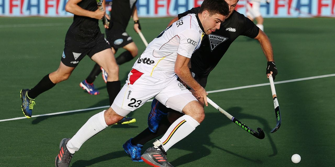 Belgium's Arthur de Sloover and New Zealand's Nick Ross fight for the ball during a Pro League hockey game between New-Zealand and Belgian Red Lions in Auckland, New-Zealand, Friday 01 February 2019. BELGA PHOTO BEN CAMPBELL