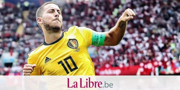 Belgium's Eden Hazard celebrates after scoring during the second game of Belgian national soccer team the Red Devils against Tunisia national team in the Spartak stadium, in Moscow, Russia, Saturday 23 June 2018. Belgium won its first group phase game. BELGA PHOTO BRUNO FAHY